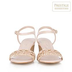 Damskie sandały zamszowe z motywem plecionki, jasny beż, 88-D-151-9-36, Zdjęcie 1