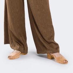 Damskie sandały z zamszu peep toe, beżowo - srebrny, 88-D-152-9-35, Zdjęcie 1