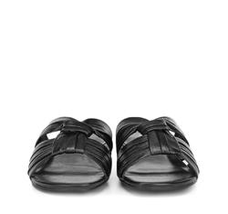 Damskie klapki z marszczonej skóry, czarny, 88-D-257-1-35, Zdjęcie 1