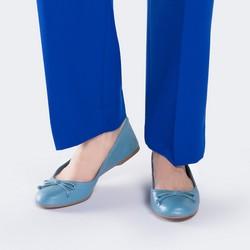 Baleriny skórzane z kokardką, niebieski, 88-D-258-N-38, Zdjęcie 1