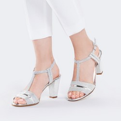Damskie sandały metaliczne, srebrny, 88-D-401-S-36, Zdjęcie 1