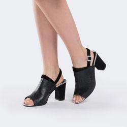 Damskie sandały skórzane zabudowane, czarny, 88-D-402-1-39, Zdjęcie 1