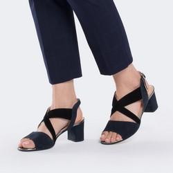 Damskie sandały zamszowe z szerokimi paskami, granatowy, 88-D-403-7-35, Zdjęcie 1