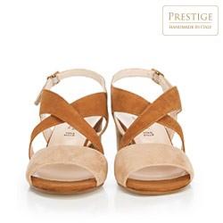 Damskie sandały zamszowe z szerokimi paskami, beżowo - brązowy, 88-D-403-9-38, Zdjęcie 1