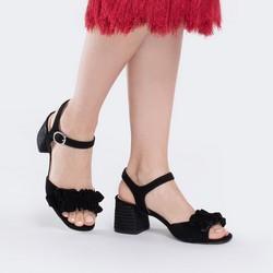 Damskie sandały zamszowe z marszczeniem, czarny, 88-D-450-1-35, Zdjęcie 1