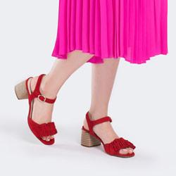 Damskie sandały zamszowe z marszczeniem, czerwony, 88-D-450-3-38, Zdjęcie 1