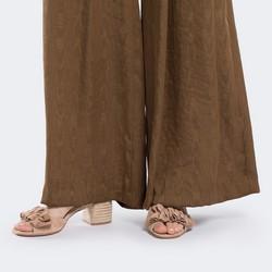 Damskie sandały zamszowe z marszczeniem, beżowo - srebrny, 88-D-450-9-36, Zdjęcie 1