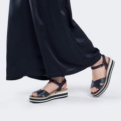 Damskie sandały skórzane na piankowej podeszwie, granatowy, 88-D-451-7-39, Zdjęcie 1