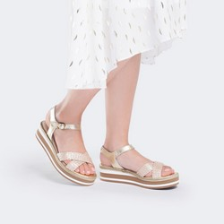 Damskie sandały skórzane na piankowej podeszwie, złoty, 88-D-451-G-37, Zdjęcie 1