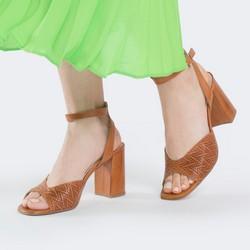Damskie sandały z tłoczonej skóry, jasny brąz, 88-D-453-5-40, Zdjęcie 1