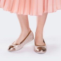 Baleriny ze skóry metaliczne, różowy, 88-D-454-P-37, Zdjęcie 1