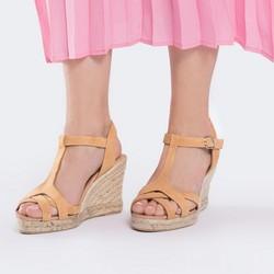 Damskie sandały espadryle z zamszu, beżowo - srebrny, 88-D-502-9-36, Zdjęcie 1