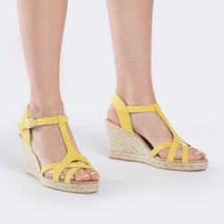 Damskie sandały espadryle z zamszu, żółty, 88-D-502-Y-38, Zdjęcie 1