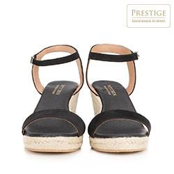Damskie sandały nubukowe na sznurkowym koturnie, czarny, 88-D-503-1-39, Zdjęcie 1
