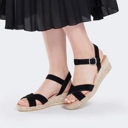 Damskie sandały z zamszu na sznurkowym koturnie, czarny, 88-D-504-1-35, Zdjęcie 1