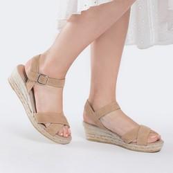 Damskie sandały z zamszu na sznurkowym koturnie, jasny beż, 88-D-504-9-38, Zdjęcie 1