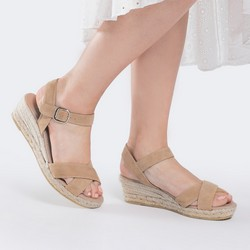 Damskie sandały z zamszu na sznurkowym koturnie, jasny beż, 88-D-504-9-41, Zdjęcie 1