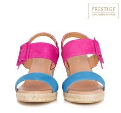 Damskie sandały espadryle z kolorowego zamszu, różowo - niebieski, 88-D-505-7-36, Zdjęcie 1