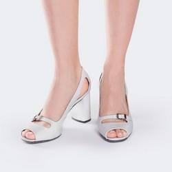 Damskie sandały skórzane z paseczkiem, szary, 88-D-553-8-36, Zdjęcie 1