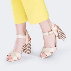 Damskie sandały skórzane na obcasie w paski, ecru, 88-D-557-0-41, Zdjęcie 1