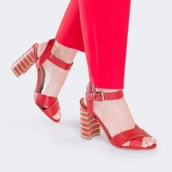 Damskie sandały skórzane na obcasie w paski, czerwony, 88-D-557-3-37, Zdjęcie 1