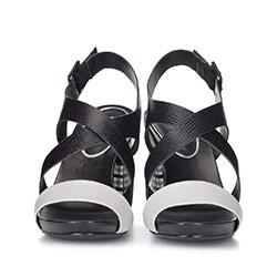 Damskie sandały skórzane na kraciastym słupku, czarno - szary, 88-D-558-1-37, Zdjęcie 1