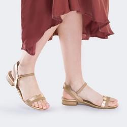 Damskie sandały skórzane falowane, złoto - beżowy, 88-D-559-5-37, Zdjęcie 1
