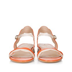 Damskie sandały skórzane falowane, koralowy, 88-D-559-K-39, Zdjęcie 1