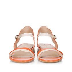 Damskie sandały skórzane falowane, koralowy, 88-D-559-K-40, Zdjęcie 1