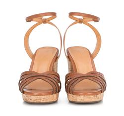 Damskie sandały skórzane na korku, brązowy, 88-D-708-4-37, Zdjęcie 1