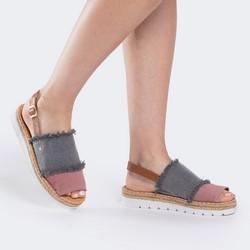 Damskie sandały z nubuku strzępione, szaro - różowy, 88-D-709-X-40, Zdjęcie 1