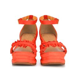 Damskie sandały z zamszu z marszczeniem, pomarańczowy, 88-D-712-6-42, Zdjęcie 1