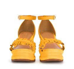 Damskie sandały z zamszu z marszczeniem, żółty, 88-D-712-Y-39, Zdjęcie 1