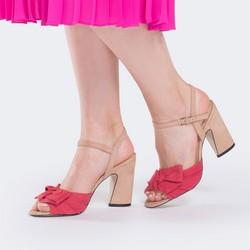 Damskie sandały nubukowe z kokardą, malinowy, 88-D-752-M-39, Zdjęcie 1