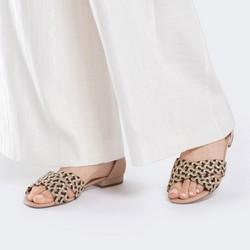 Damskie sandały skórzane z motywem plecionki, multikolor, 88-D-754-X-37, Zdjęcie 1