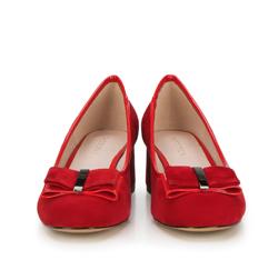 Czółenka z zamszu z kokardką, czerwony, 88-D-954-3-37, Zdjęcie 1