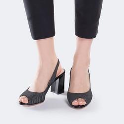 Damskie sandały z nubuku w groszki, czarny, 88-D-966-1-35, Zdjęcie 1