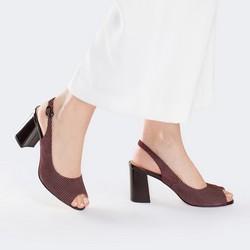 Damskie sandały z nubuku w groszki, bordowy, 88-D-966-2-36, Zdjęcie 1