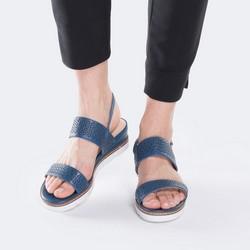 Damskie sandały skórzane z ażurowym wzorem, granatowy, 88-D-970-7-38, Zdjęcie 1