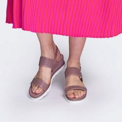 Damskie sandały skórzane z ażurowym wzorem, różowy, 88-D-970-P-38, Zdjęcie 1