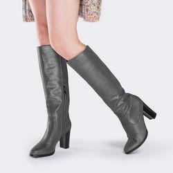 Women's knee high boots, grey, 89-D-963-8-35, Photo 1