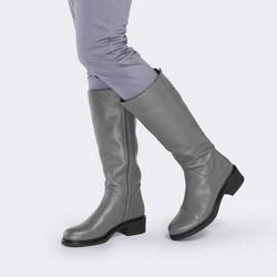 WOMEN'S KNEE HIGH BOOTS, grey, 89-D-965-8-40, Photo 1