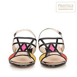Damskie sandały na słupku z geometrycznym przodem, multikolor, 90-D-400-X-37, Zdjęcie 1