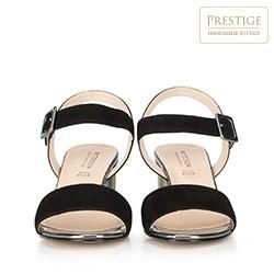 Damskie sandały zamszowe na kolorowym słupku, czarny, 90-D-401-1-40, Zdjęcie 1
