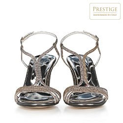 Damskie sandały na słupku srebrne, srebrny, 90-D-402-S-40, Zdjęcie 1