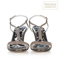 Damskie sandały na słupku srebrne, srebrny, 90-D-402-S-41, Zdjęcie 1