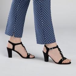 Damskie sandały na słupku zamszowe z lustrzanymi nitami, czarny, 90-D-403-1-38, Zdjęcie 1