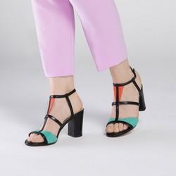 Damskie sandały na słupku skórzane z kolorowymi wstawkami, multikolor, 90-D-404-X-38, Zdjęcie 1