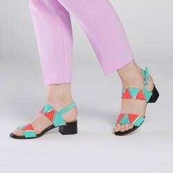 Sandały skórzane na niskim słupku z kolorowymi wstawkami, multikolor, 90-D-405-X-35, Zdjęcie 1