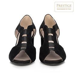 Damskie sandały na słupku zamszowe z wycięciami, czarny, 90-D-650-1-39, Zdjęcie 1